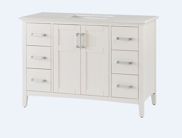 Baywind 49-inch W 6-Drawer 2-Door Vanity in White With Engineered Stone Top in White