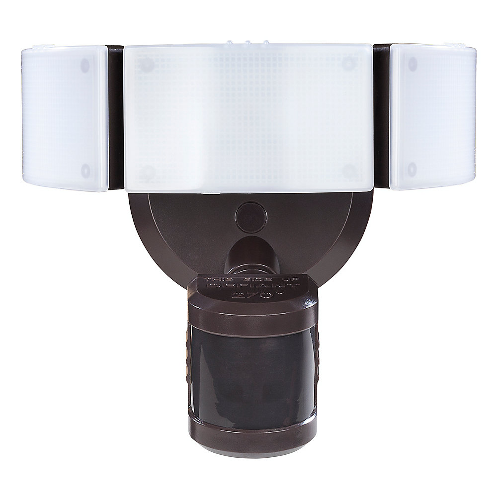 270 Degree 3-Head Bronze LED Motion Outdoor Security Light