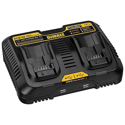 12V to 20V MAX Lithium-Ion Dual Port Jobsite Fast Charging Station with (2) USB Ports