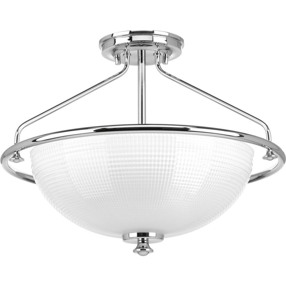 Lucky Collection 3-light Polished Chrome Semi-Flushmount