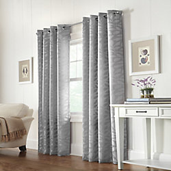 Home Decorators Collection Silver, Leaf jacquard, light filtering, grommet, 52 Inch x 84 Inch