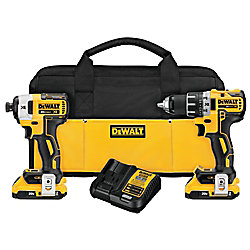 DEWALT 20V MAX XR Li-Ion Cordless Brushless Drill/Impact Combo Kit (2-Tool) w/ (2) Batteries 2Ah, Charger and Bag