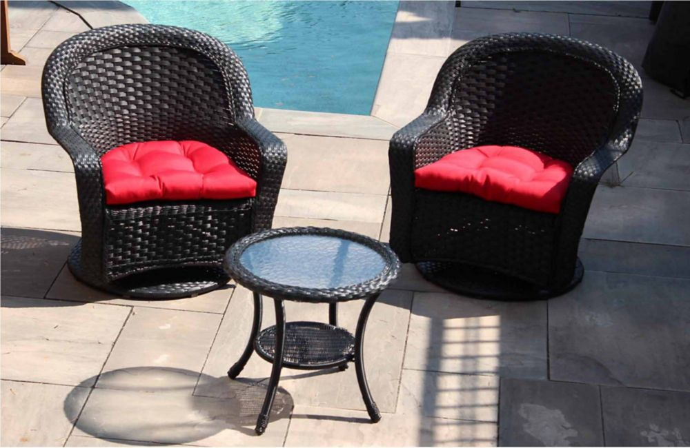 Henryka 3-Piece Patio Wicker Swivel Seating Set with Round Table and Red Cushion