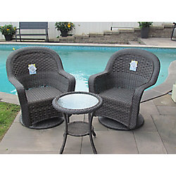 Henryka 3-Piece Patio Wicker Swivel Seating Set with Round Table in Grey