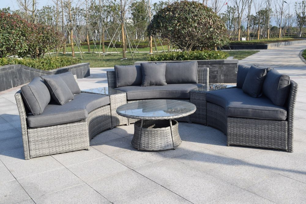 Henryka 6 Piece Patio Wicker Sofa Set In Grey With Round Table And