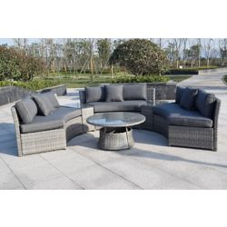Henryka 6-Piece Patio Wicker Sofa Set in Grey with Round Table and Grey Cushions