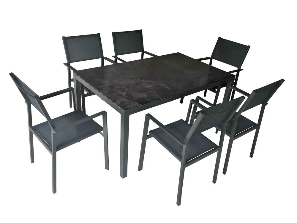 Henryka 7-Piece Patio Dining Set with Rectangular Table in Black