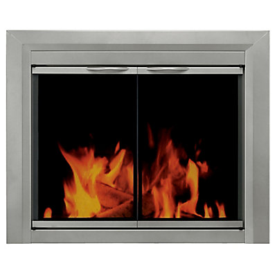 Pleasant Hearth Colby Large Glass Fireplace Doors The Home Depot