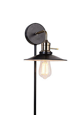 Home decorators collection industrial plug in wall sconce in plated home decorators collection industrial plug in wall sconce in plated antique brass the home depot canada aloadofball Images