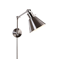 Home Decorators Collection 1-Light Brushed Nickel Swing Arm Plug-in Sconce with Cord Covers