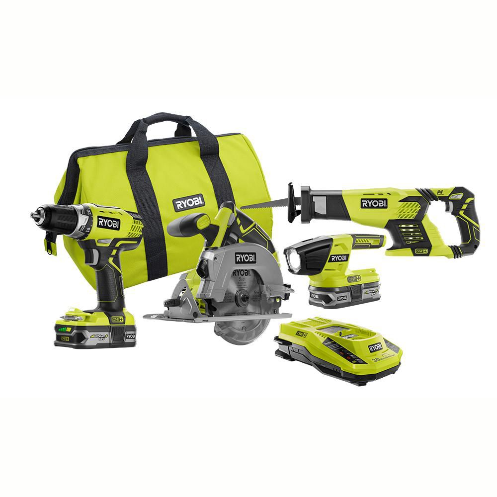 18V ONE+ Lithium-Ion Cordless Combo Kit (4-Tool) with (2) 1.5Ah Lithium+ Batteries, Charger, Bag