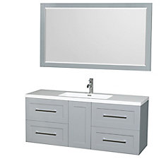 Olivia 60-inch W 4-Drawer 1-Door Wall Mounted Vanity in Grey With Acrylic Top in White With Mirror