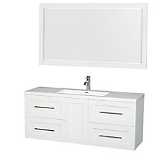 Olivia 60-inch W 4-Drawer 1-Door Wall Mounted Vanity in White With Acrylic Top in White With Mirror