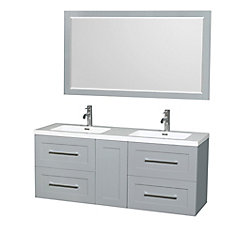 Olivia 60-inch W 4-Drawer 1-Door Wall Mounted Vanity in Grey With Acrylic Top in White, 2 Basins