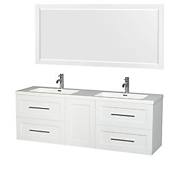 Wyndham Collection Olivia 72-inch W 4-Drawer 1-Door Wall Mounted Vanity in White With Acrylic Top in White, 2 Basins