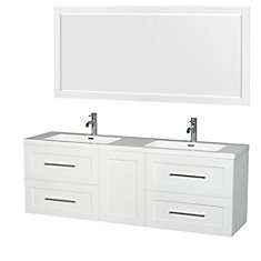 Olivia 72-inch W 4-Drawer 1-Door Wall Mounted Vanity in White With Acrylic Top in White, 2 Basins