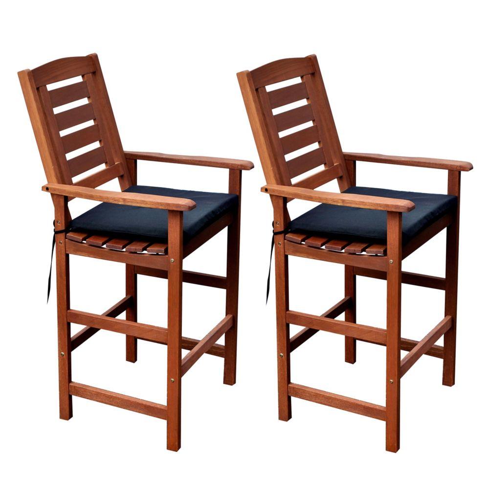 Corliving PEX-263-C Miramar Hardwood Outdoor Bar Height Chairs (2-Pack) in Brown Cinnamon