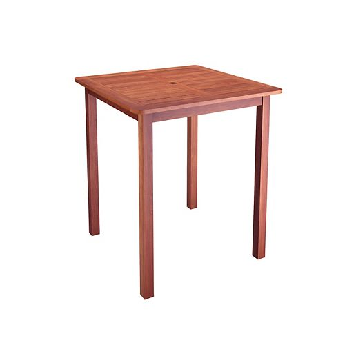 Corliving PEX-263-T Miramar Hardwood Outdoor Bar Height Patio Table in Brown Cinnamon