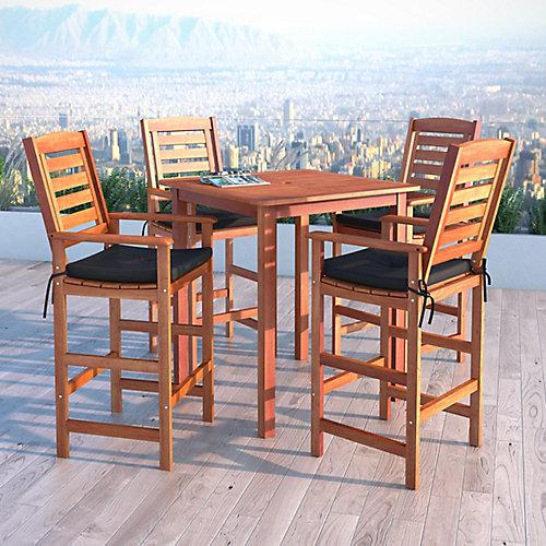 Miramar 5-Piece Hardwood Outdoor Bar Height Bistro Set in Cinnamon Brown