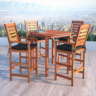 corliving miramar 5 piece hardwood outdoor bar height bistro set in