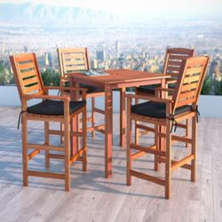 Corliving Miramar 5-Piece Hardwood Outdoor Bar Height Bistro Set in Cinnamon Brown