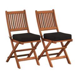 Corliving Ensemble de 2 chaises pliables en bois dur - Brun cannelle