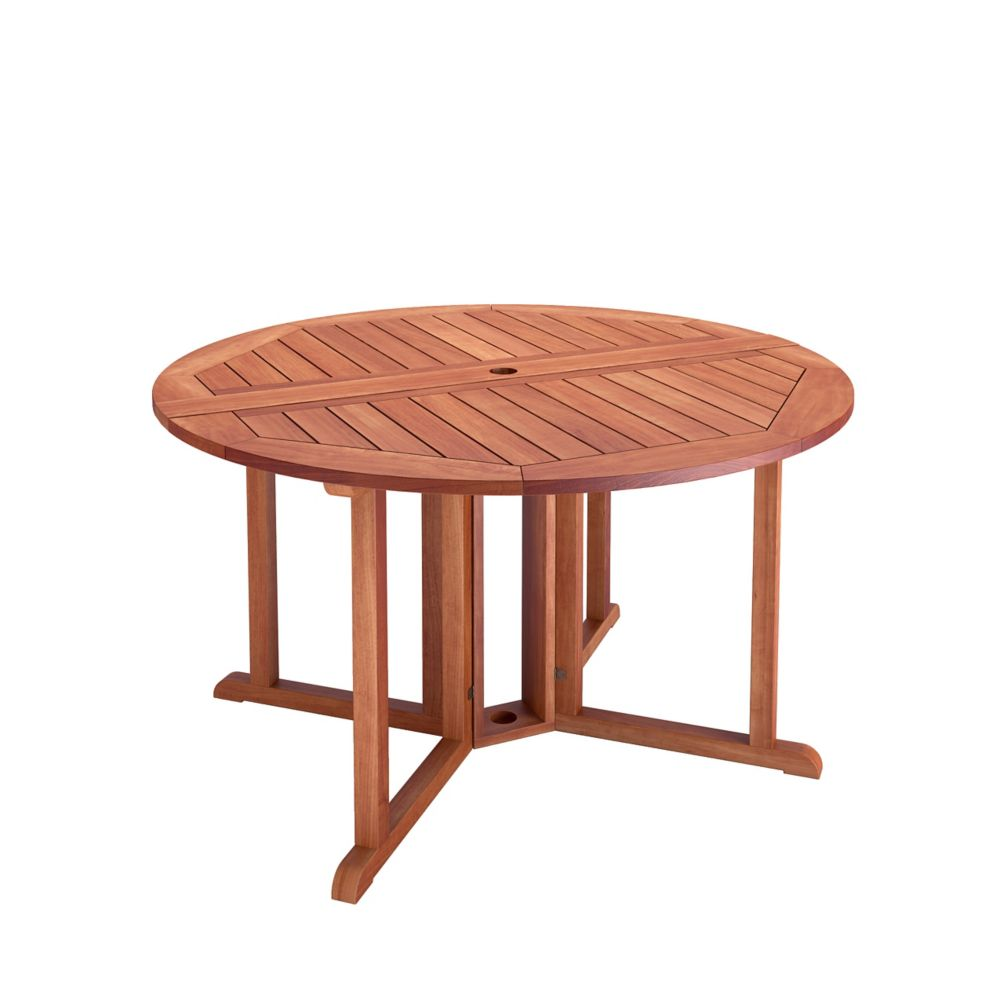 Corliving Miramar Hardwood Outdoor Drop Leaf Dining Table in Cinnamon Brown