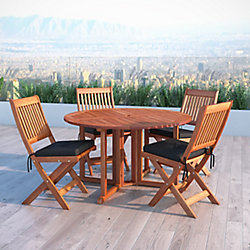 Corliving Miramar 5-Piece Hardwood Outdoor Folding Dining Set in Cinnamon Brown