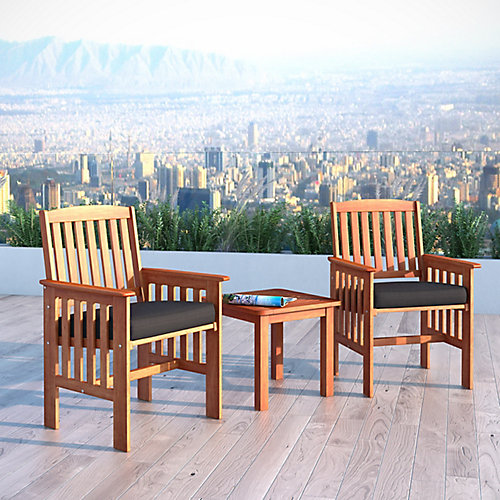 Miramar 3-Piece Hardwood Outdoor Chair and Side Table Set in Cinnamon Brown