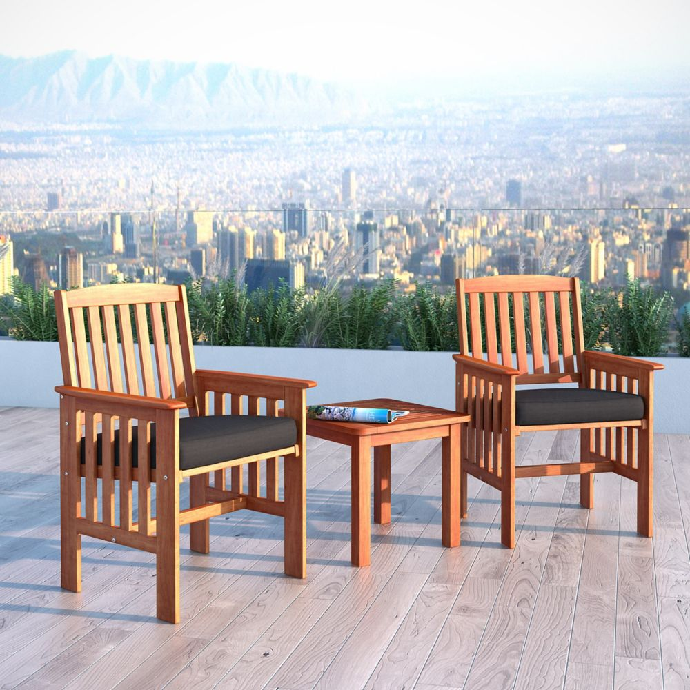 Corliving Miramar 3-Piece Hardwood Outdoor Chair and Side Table Set in Cinnamon Brown