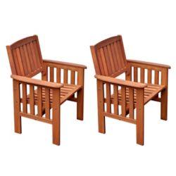 Corliving Ensemble de 2 chaises en bois dur couleur cannelle
