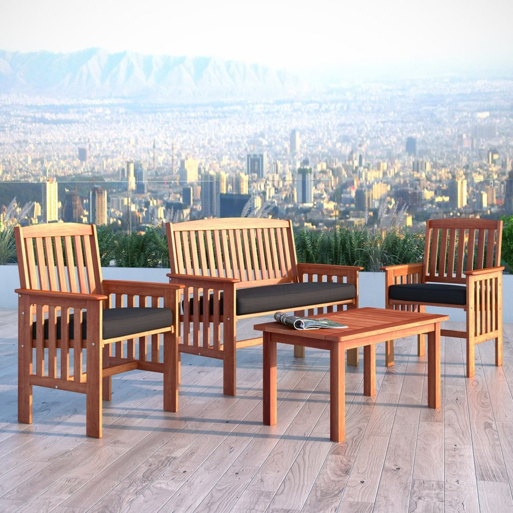 Corliving Miramar 4-Piece Hardwood Outdoor Chair and Coffee Table Set in Cinnamon Brown