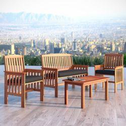 Corliving Ens. 4 pièces en bois dur brun cannelle avec chaises et table à café