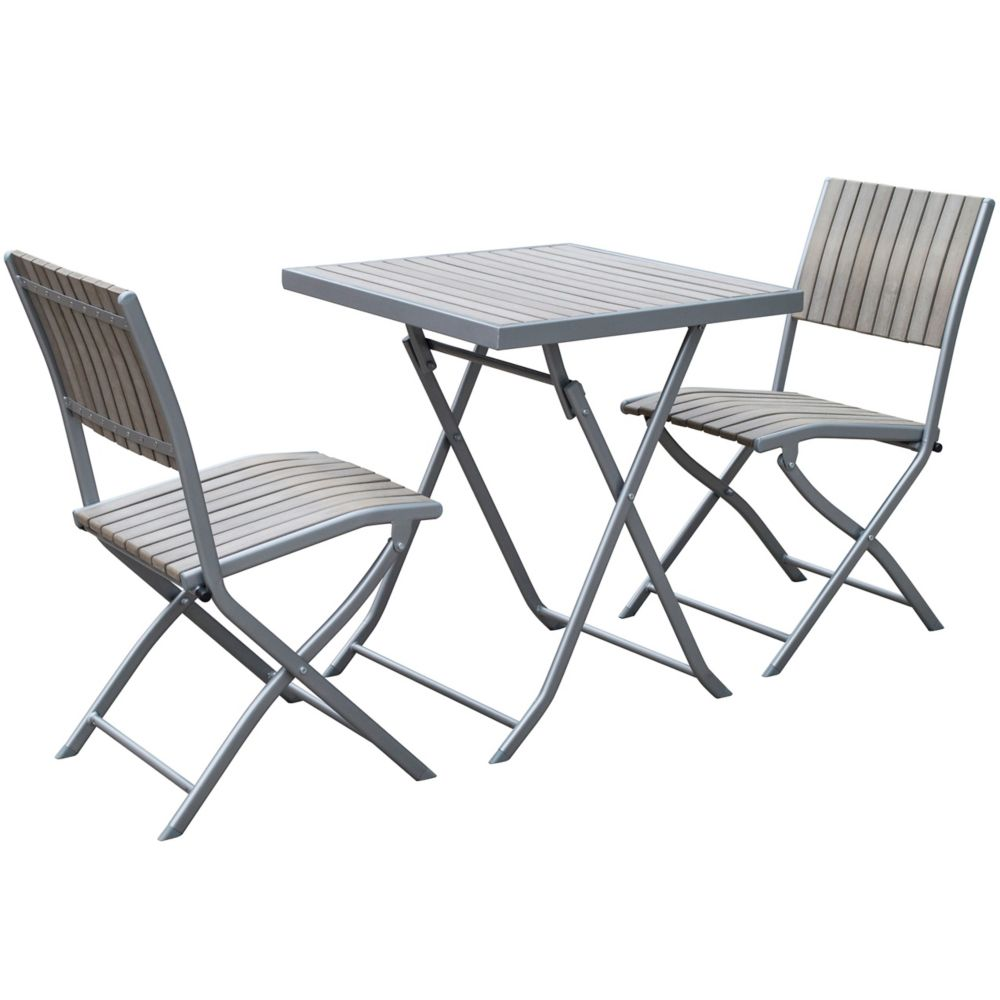 Corliving Gallant 3-Piece Outdoor Folding Bistro Set in Sun Bleached Grey