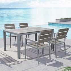 Corliving Gallant Outdoor Dining Chairs in Sun Bleached Grey (Set of 4)