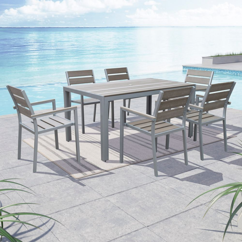 Corliving Gallant 7-Piece Outdoor Dining Set in Sun Bleached Grey