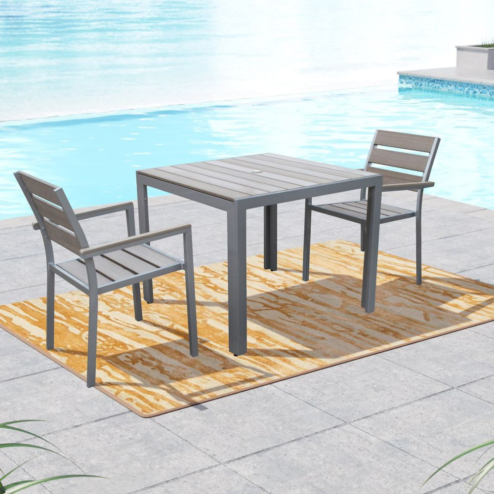 Corliving Gallant 3-Piece Outdoor Dining Set in Sun Bleached Grey