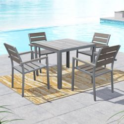 Corliving Gallant 5-Piece Outdoor Dining Set in Sun Bleached Grey