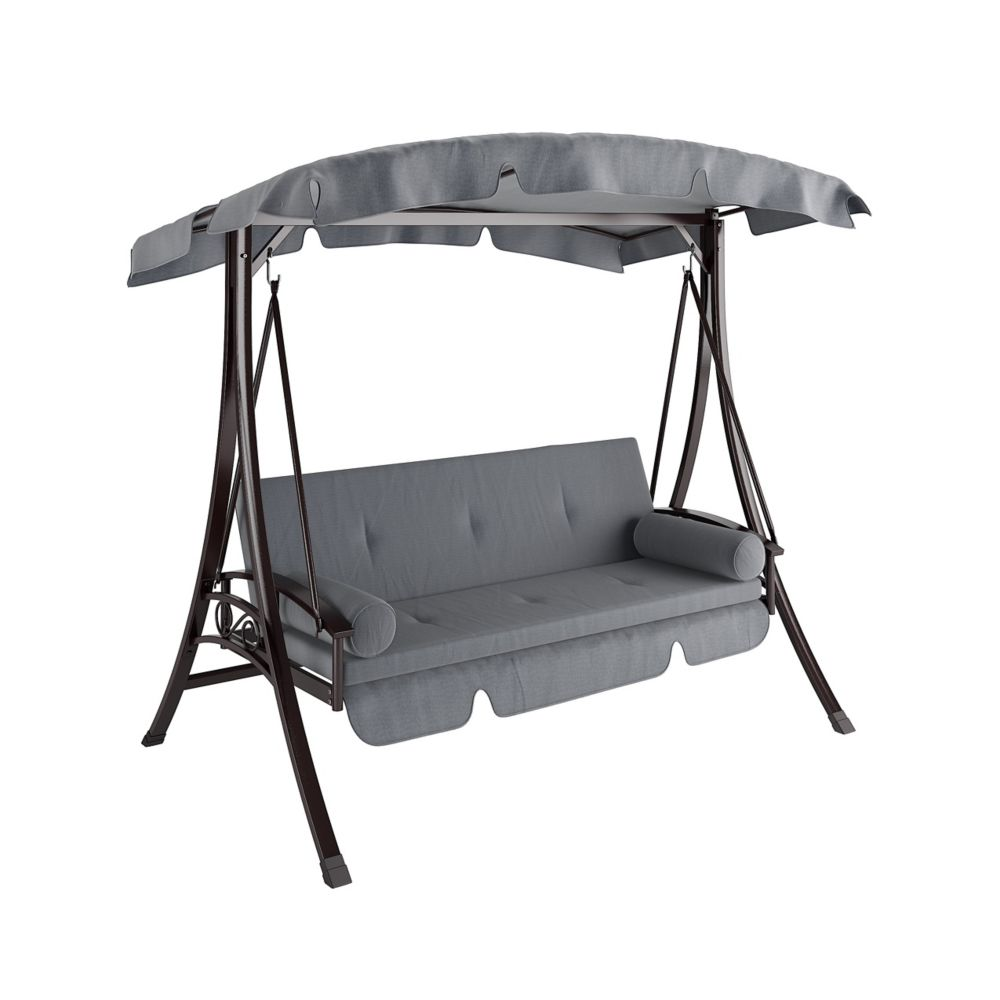 Corliving Nantucket Daybed Patio Swing in Charcoal and Grey