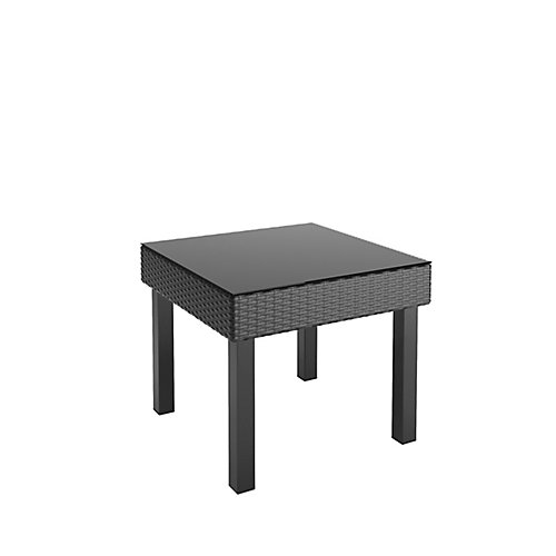 Oakland Patio End Table in Textured Black Weave