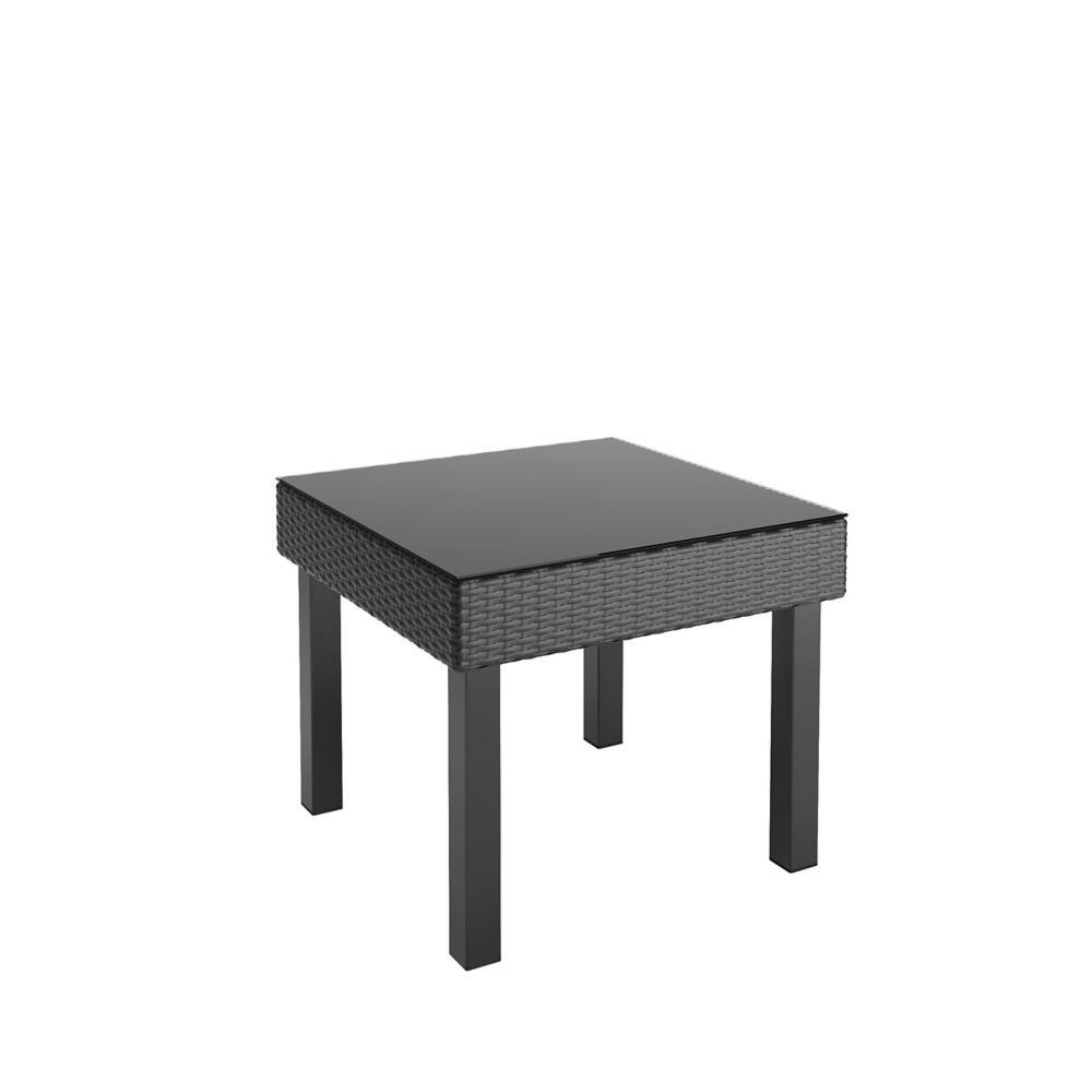 Corliving Oakland Patio End Table in Textured Black Weave
