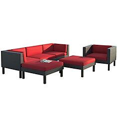 Ensemble Patio composable sofa avec chaise longue et fauteuil 6 pièces