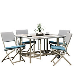 Corliving 5-Piece Stowable Folding Patio Dining Set Taupe and Teal
