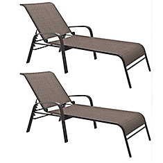 Ensemble de 2 chaises longues inclinables de couleur brune