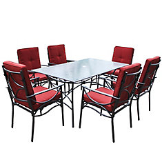 PZT-854-S 7-Piece Charcoal Black and Red Patio Dining Set