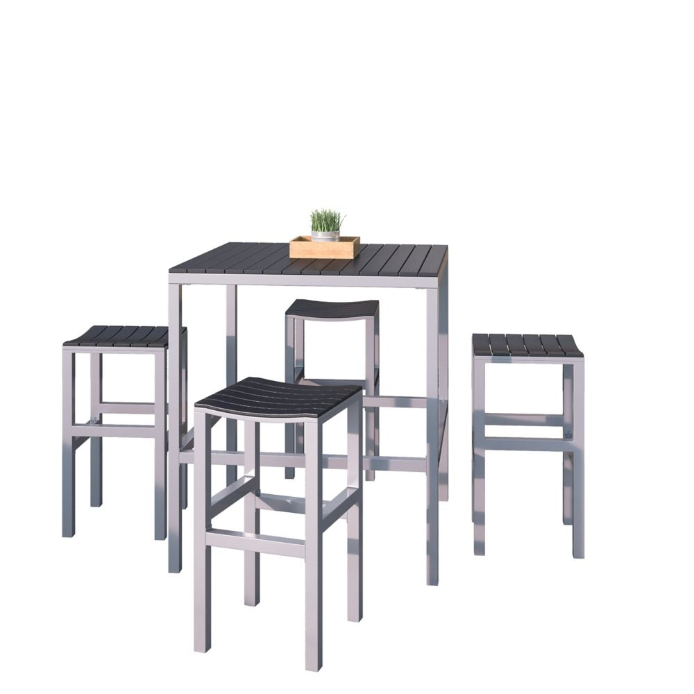 Corliving 5-Piece Outdoor Bar Height Bistro Set in Aluminum and Black