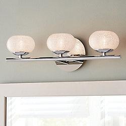 Home Decorators Collection Luminaire pour meuble-lavabo à 3ampoules avec diffuseurs ronds, chrome et verre