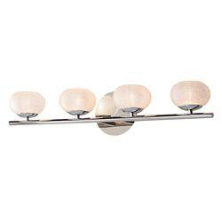 Home Decorators Collection Luminaire pour meuble-lavabo à 4ampoules avec diffuseurs ronds, chrome et verre