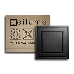 Ceilume Stratford Black Feather-Light 2 Feet x 2 Feet Lay-in Ceiling Panels (10-Pack) (covers 40 sq.ft)