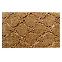 Home Decorators Collection Embossed Tile Beige and Tan 1 ft. 6-inch x 2 ft. 6-inch Indoor/Outdoor Rectangular Coir Door Mat